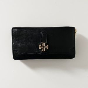 Tory Burch Pebble Leather Black Wallet